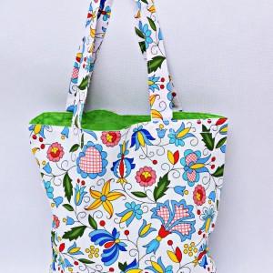 Torba na zakupy, torba shopperka, torba szoperka, eko siatka na zakupy kaszubska z zielonym, torba ludowa kaszubska