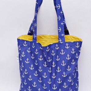 Torba na zakupy, torba shopperka, torba szoperka, eko siatka na zakupy kotwice niebieskie z żółtym