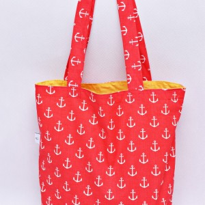 Torba na zakupy, torba shopperka, torba szoperka, eko siatka na zakupy, kotwice czerwone z żołtym