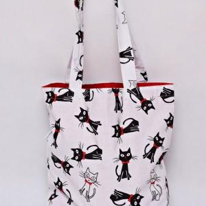 Torba na zakupy, torba shopperka, torba szoperka, eko siatka na zakupy, kotki z muszką, torba z kotem