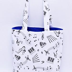 Torba na zakupy, torba shopperka, torba szoperka, eko siatka na zakupy, muzka nutki z niebieskim