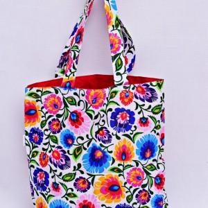 Torba na zakupy, torba shopperka, torba szoperka, eko siatka na zakupy biały łowicz z czerwonym, torba łowicka