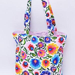 Torba na zakupy, torba shopperka, torba szoperka, eko siatka na zakupy biały łowicz z jasno różowym, torba łowicka