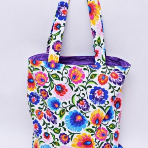 Torba na zakupy, torba shopperka, torba szoperka, eko siatka na zakupy biały łowicz z fioletowym, torba łowicka