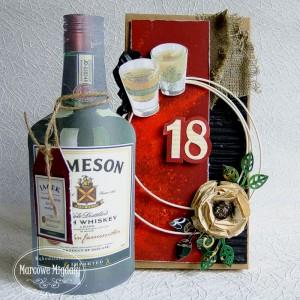 Męska kartka na osiemnastkę z pudełkiem, irish whiskey