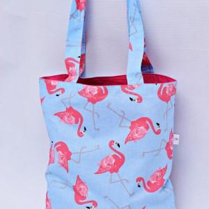 Torba na zakupy, torba shopperka, torba szoperka, eko siatka na zakupy flamingi różowe
