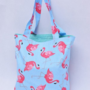 Torba na zakupy, torba shopperka, torba szoperka, eko siatka na zakupy flamingi miętowe