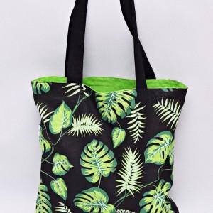 Torba na zakupy, torba shopperka, torba szoperka, eko siatka na zakupy liście monstera jasna zieleń