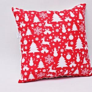 Poduszka świąteczna poduszka ozdobna czerwona z białym minky