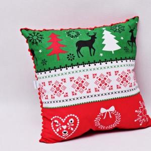 Poduszka świąteczna ozdobna sweterek renifery czerwone