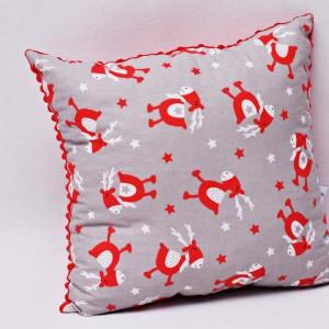Poduszka świąteczna ozdobna renifer Rudolf czerwony