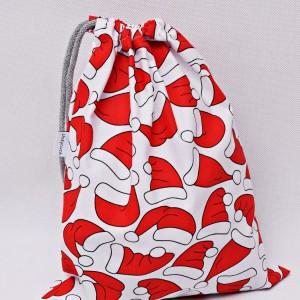 Worek na prezenty worek świąteczny, worek prezentowy czapki Mikołaja rozmiar M