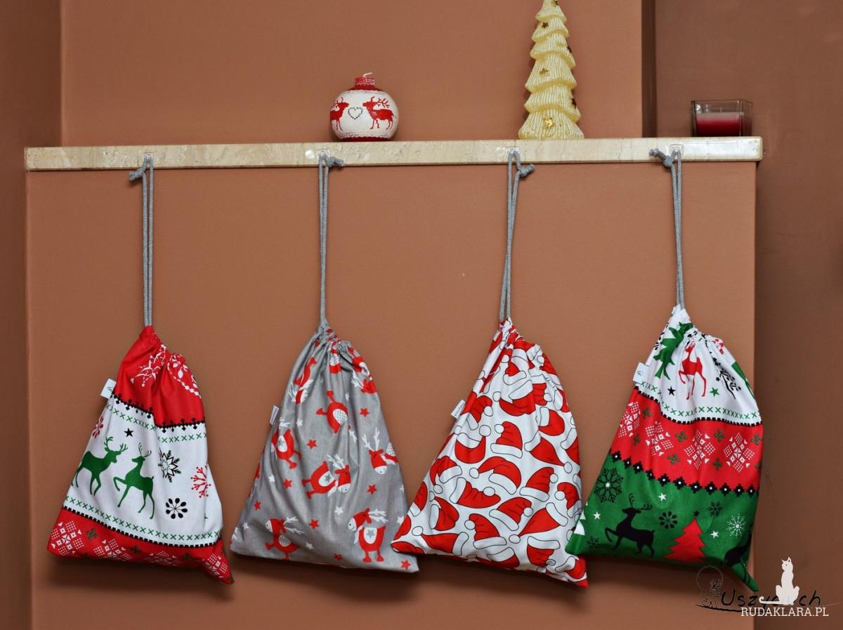 Worek na prezenty worek świąteczny, worek prezentowy sweterek zielony