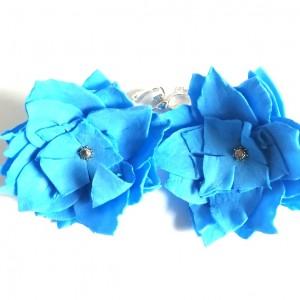 klipsy niebieskie kwiatowe handmade folk lekkie