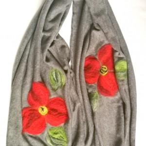szary szal damski zimowy z wełną merynosów handmade