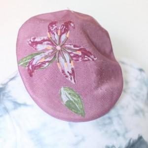 kaszkiet wrzosowy w kwiaty