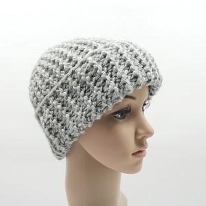 Gruba czapka Szary Rules robiona ręcznie na drutach one size unisex odwijana długa