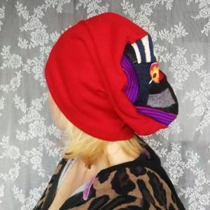 czapka damska czerwona dzianina swetrowa patchwork ciepła