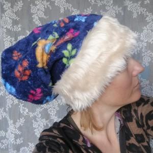czapka zimowa ciepła miękka z futerkiem handmade