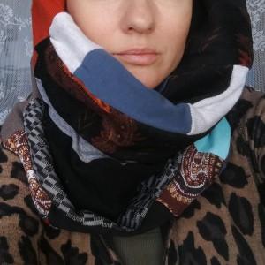 komin patchworkowy zimowy boho handmade kolorowy ciepły