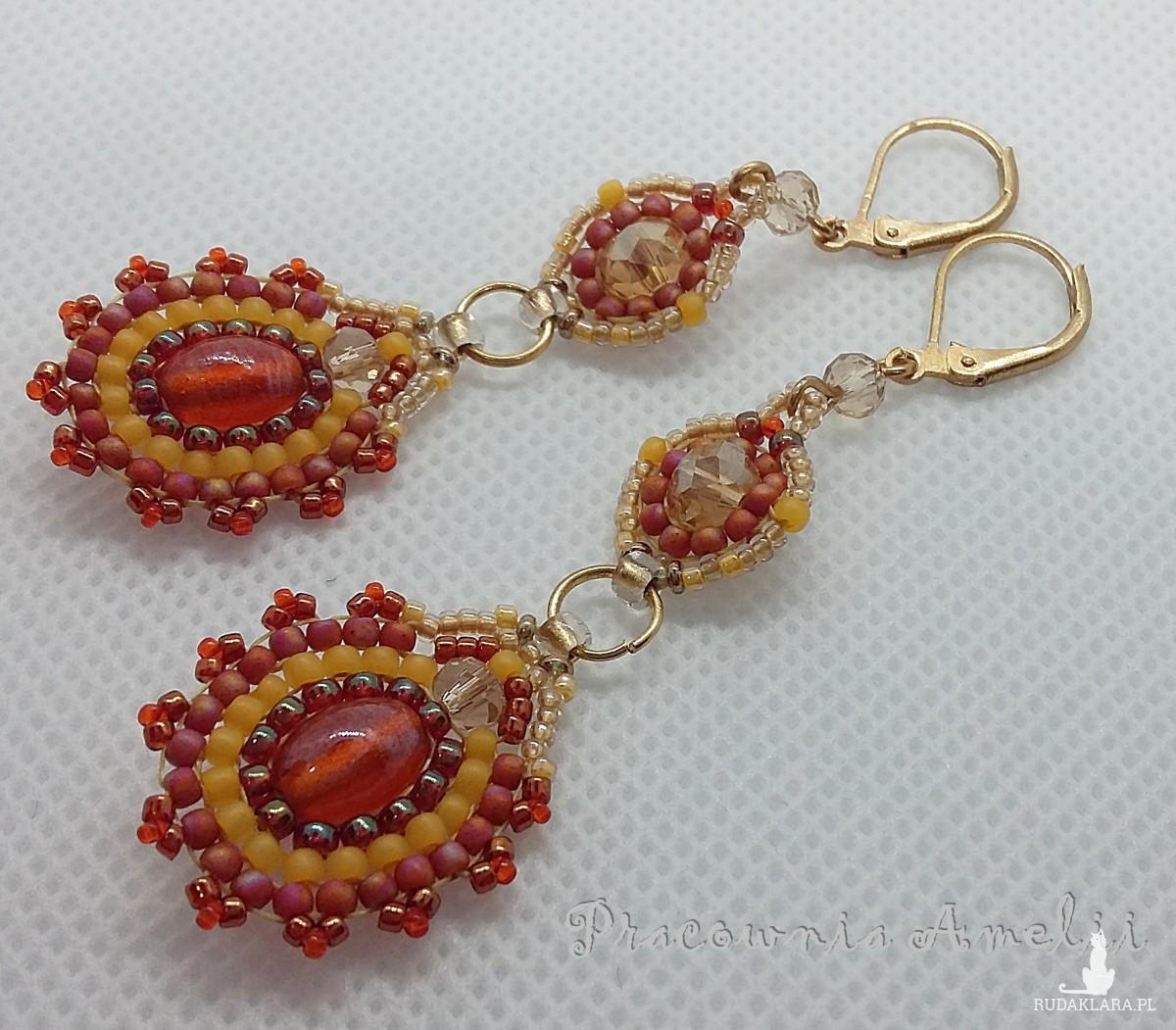 Pomarańczowe kolczyki handmade beading