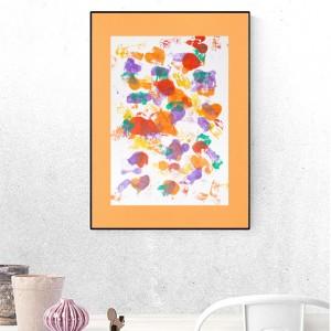 kolorowa abstrakcja malowana ręcznie, energetyczna grafika na ścianę, nowoczesna dekoracja do loftu