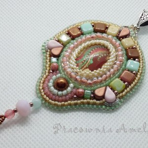 wisior beaded embroidery multikolor rękodzieło