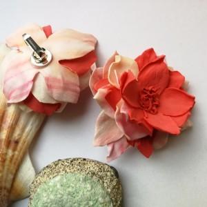 klipsy kwiaty maki lekkie duże flamenco