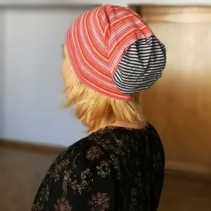 czapka damska sportowa dzianina w paski handmade