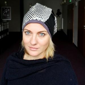 czapka patchworkowa damska etno boho ludowa cekinowa