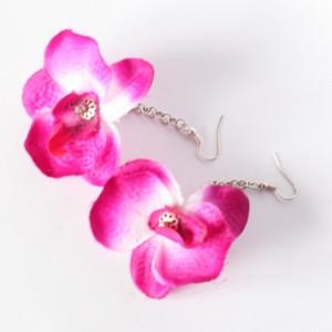 kolczyki kwiatowe wiosenne storczyki