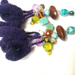 klipsy pompony fioletowe etno boho orientalne handmade