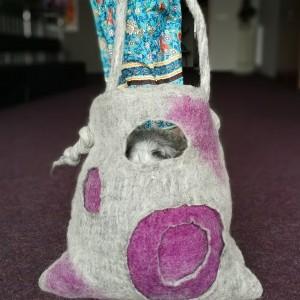 torba filcowana szara duza handmade