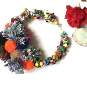 naszyjnik etniczny koralikowy duży boho folk handmade