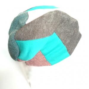 czapka patchworkowa damska dzianina  wełna bawełna