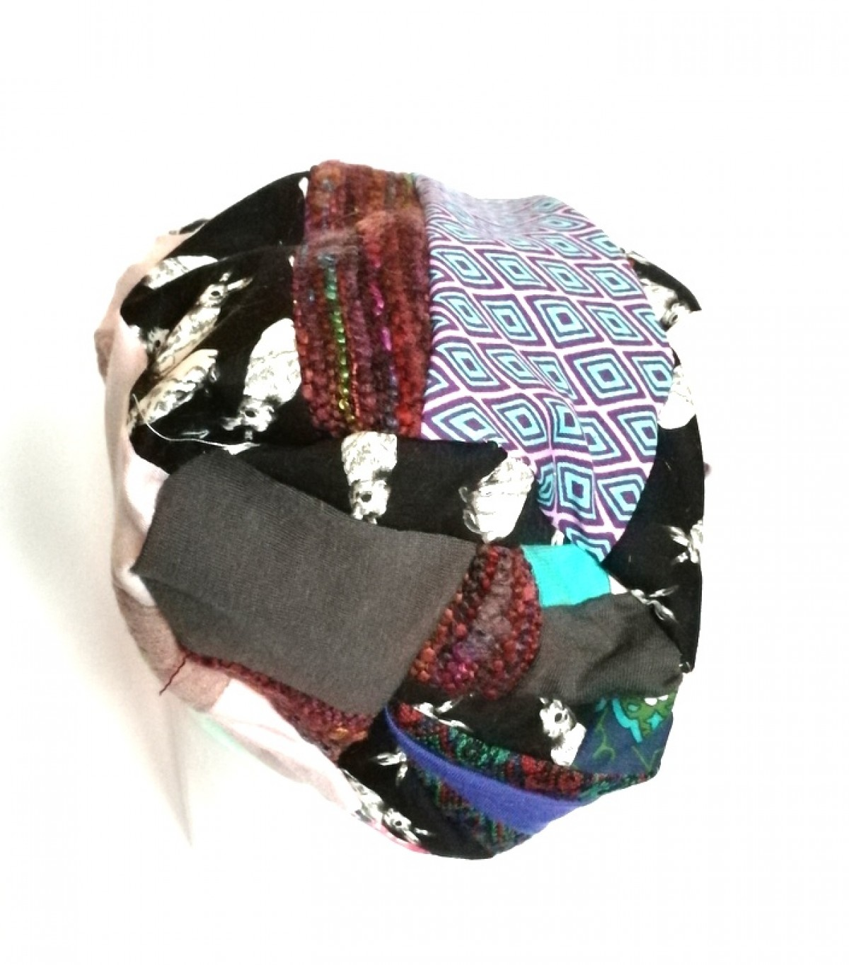 czapka patchworkowa damska dzianina   bawełna króliki etno boho