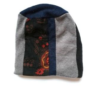 czapka damska miękka zimowa patchwork boho handmade