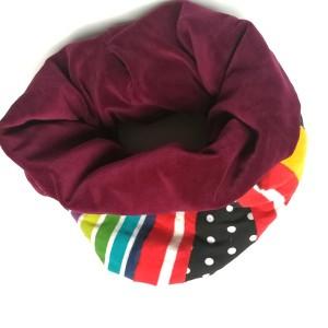 komin kolorowy ciepły patchworkowy boho etno zwariowany handmade grochy kropki