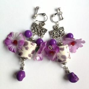 klipsy kwiatowe kolorowe floral folk etno handmade