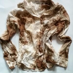 bawełniana recznie farbowana koszula koronka hafty
