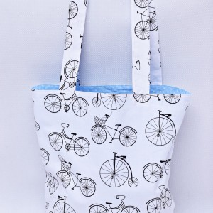 Torba na zakupy, torba shopperka, torba szoperka, eko siatka na zakupy rowery niebieskie