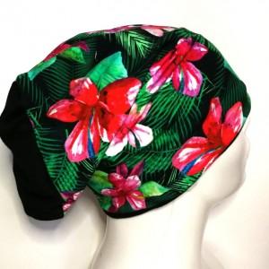 czapka damska kwiatowa sportowa dzianina rekonwalescencja handmade