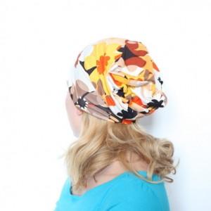 czapka w kwiaty dresowa dzianinowa