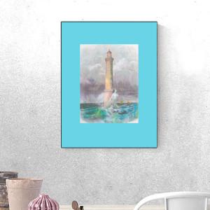 kot grafika na ścianę, miętowy plakat dla dzieci, plakat z kotkiem, kot obrazek do dziecięcego pokoju