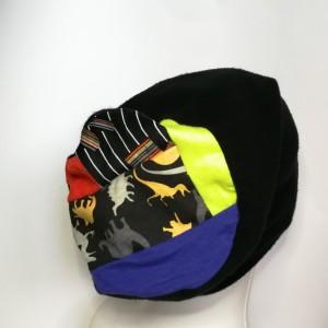 czapka damska czarna ciepłą zimowa patchwork