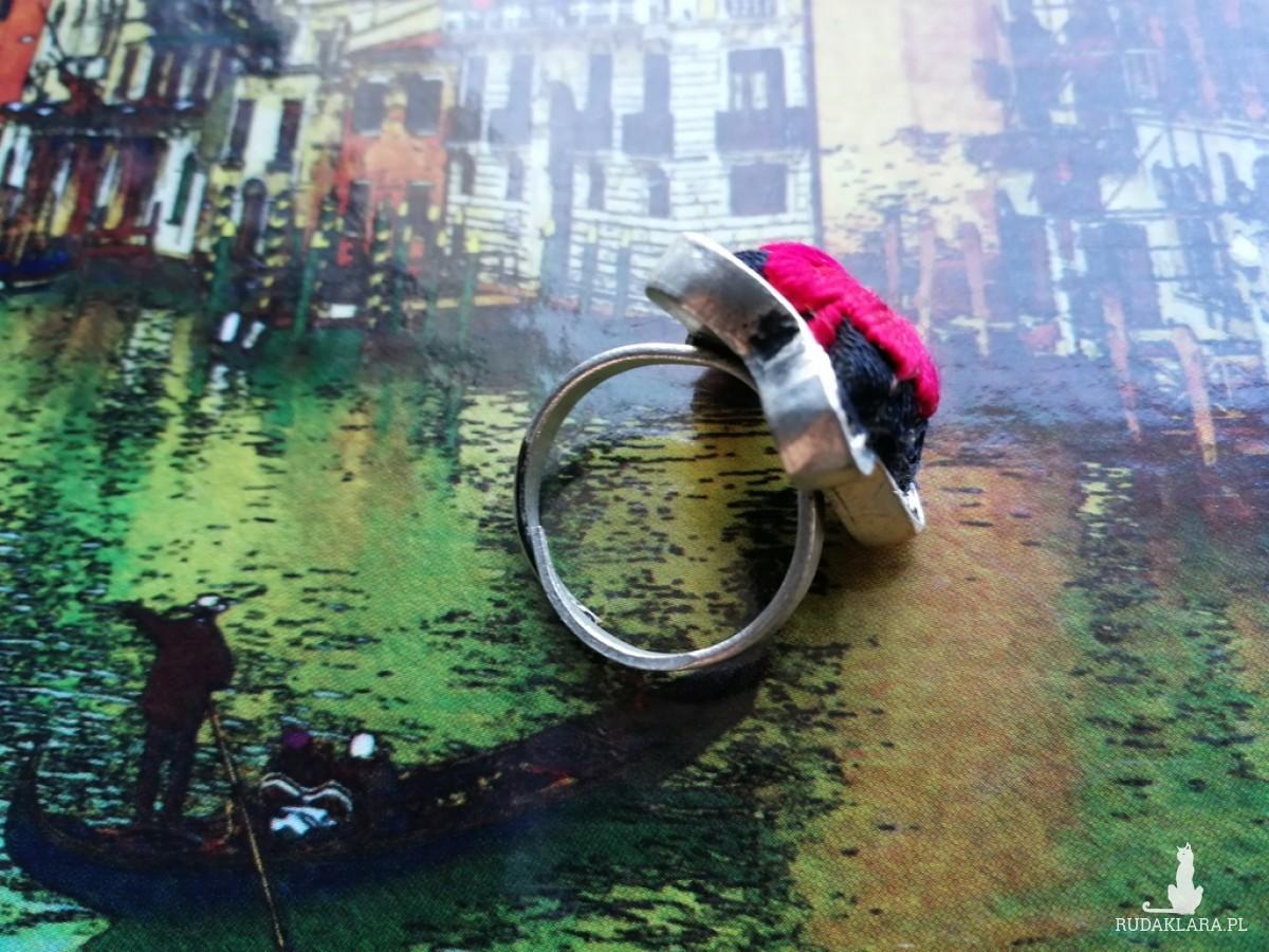 pierścionek haftowany orientalny w stylu boho handmade