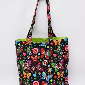 Torba na zakupy, torba shopperka, torba szoperka, eko siatka bawełniana na zakupy motyle folk zielone