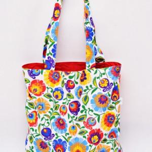 Torba na zakupy, torba shopperka, torba szoperka, eko siatka na zakupy biały łowicz z czerwonym