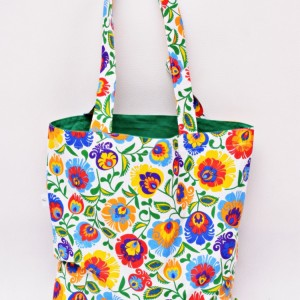 Torba na zakupy, torba shopperka, torba szoperka, eko siatka na zakupy, bawełniana, wzór folkowy biały