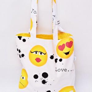Torba na zakupy, torba shopperka, torba szoperka, eko siatka na zakupy, bawełniana torba emotki żółte, emoji